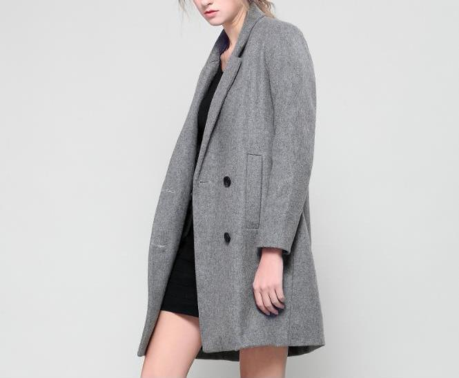 Slim Double-Breasted Long Coat