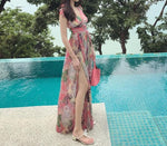 V-Neck Strap Floral Silk Beach Dress
