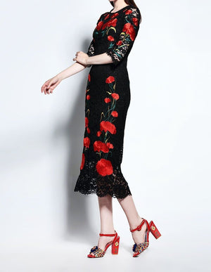 Embroidery Long Lace Dress