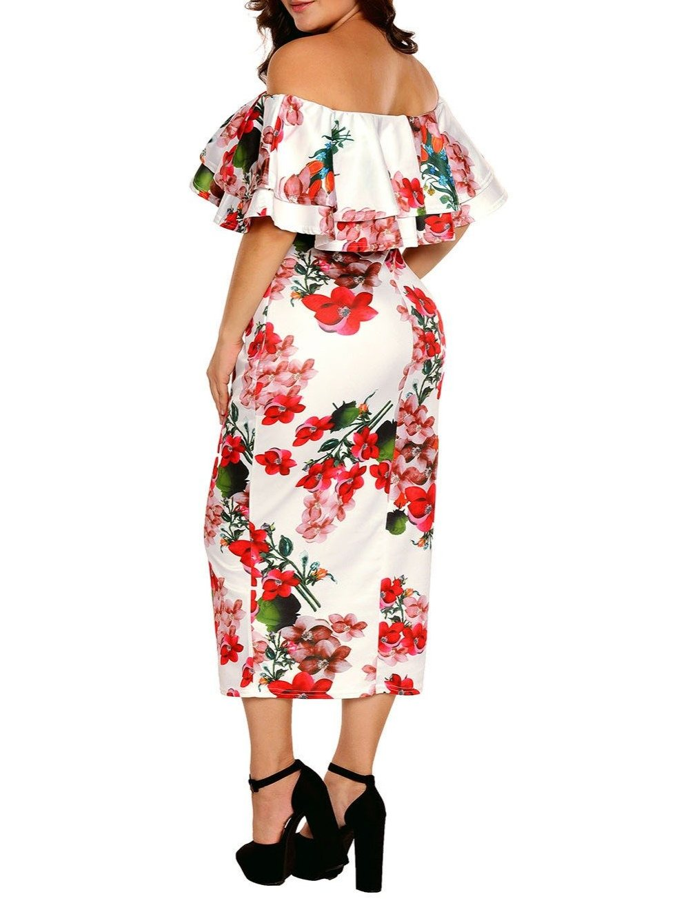 Off Shoulder Floral Layered Ruffle Dress