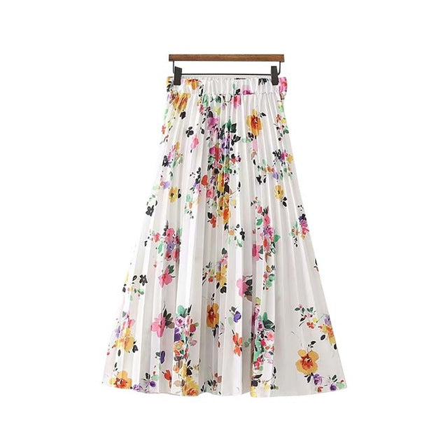 Foral Pleated Skirt