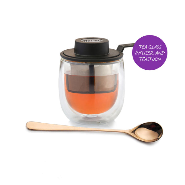 Tea glass infuser and teaspoon: subscription add-on