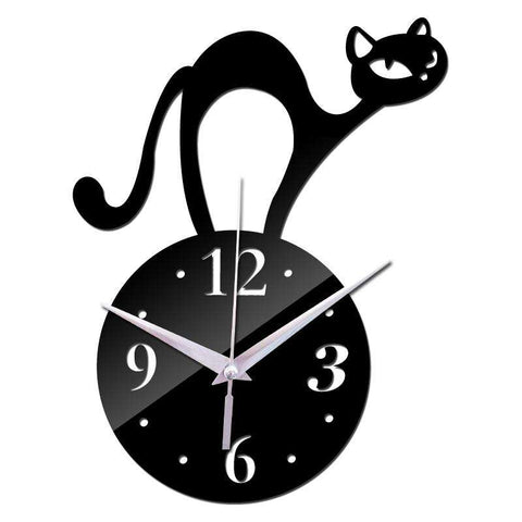 Stunning Cat Clock available in Black, Silver& Gold