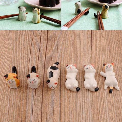 6 Pc Lucky Ceramic Cat Cutlery Rest Holders