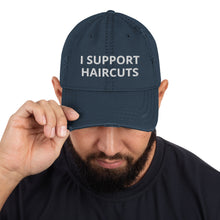 I Support Haircuts Distressed Dad Hat
