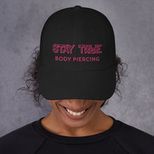 Stay True - pink text boi bye dad hat