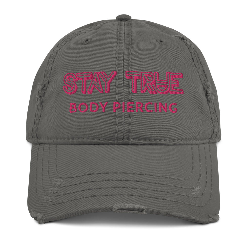 Stay True - pink text boi bye distressed dad hat