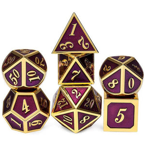 Metal DND Dice Set 7 Die Gold Blue Metal D&D Dice for Dungeons and Dragons Games-Glossy Enamel Dice
