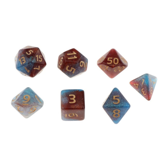 7Pc Multi-sided Dices Set D4-D20 for D&D Roleplaying Party Casino Board Game Toy