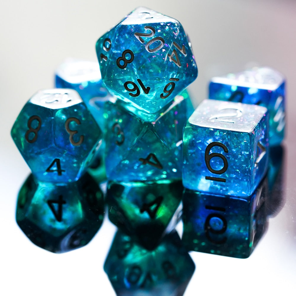 7Pcs/set Glitter Blue DND Dice D&D Dice D4 D6 D8 D10 D% D12 D20 Polyhedral Games Dice Set for Table Games MTG RPG