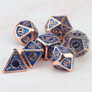Metal dnd dice set RPG d&d gear mechanical dungeon and dragon polyhedral rose blue dice with bag D20 D12 D10 D8 D6 D4
