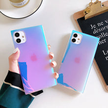 Square Purple Laser Glitter Case for iPhone 12mini 11 Pro Max 7 8Plus XS MAX XR X Clear Soft Silicone Rainbow Marble Back Cover