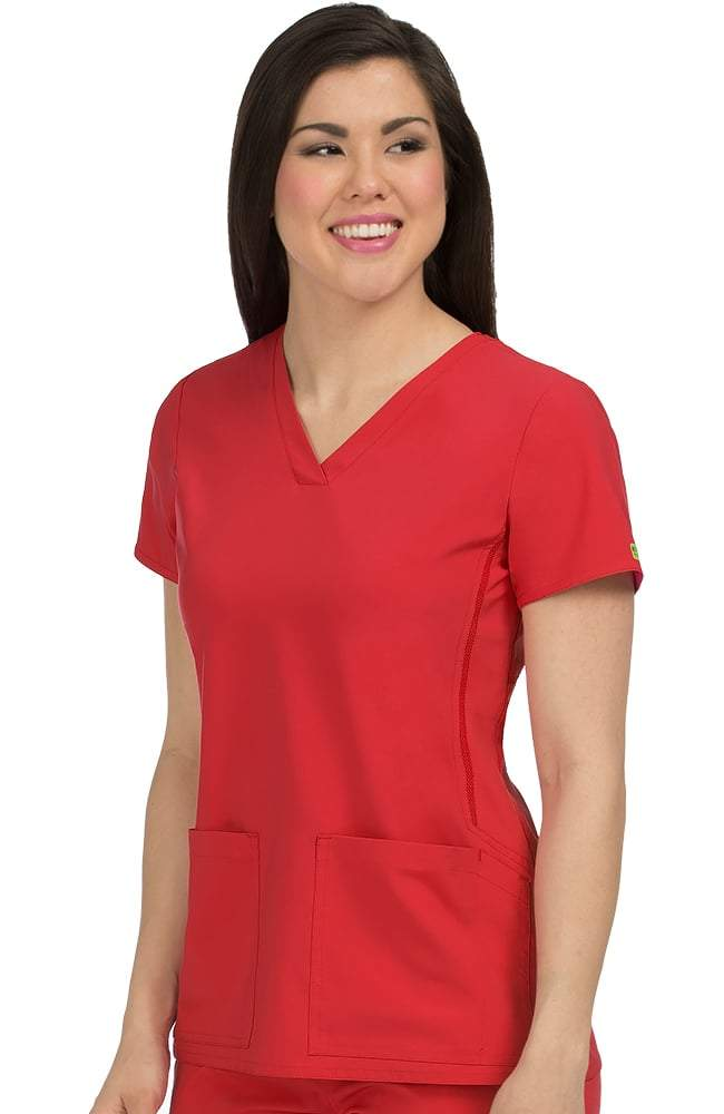 Power V-Neck Solid Scrub Top-Red