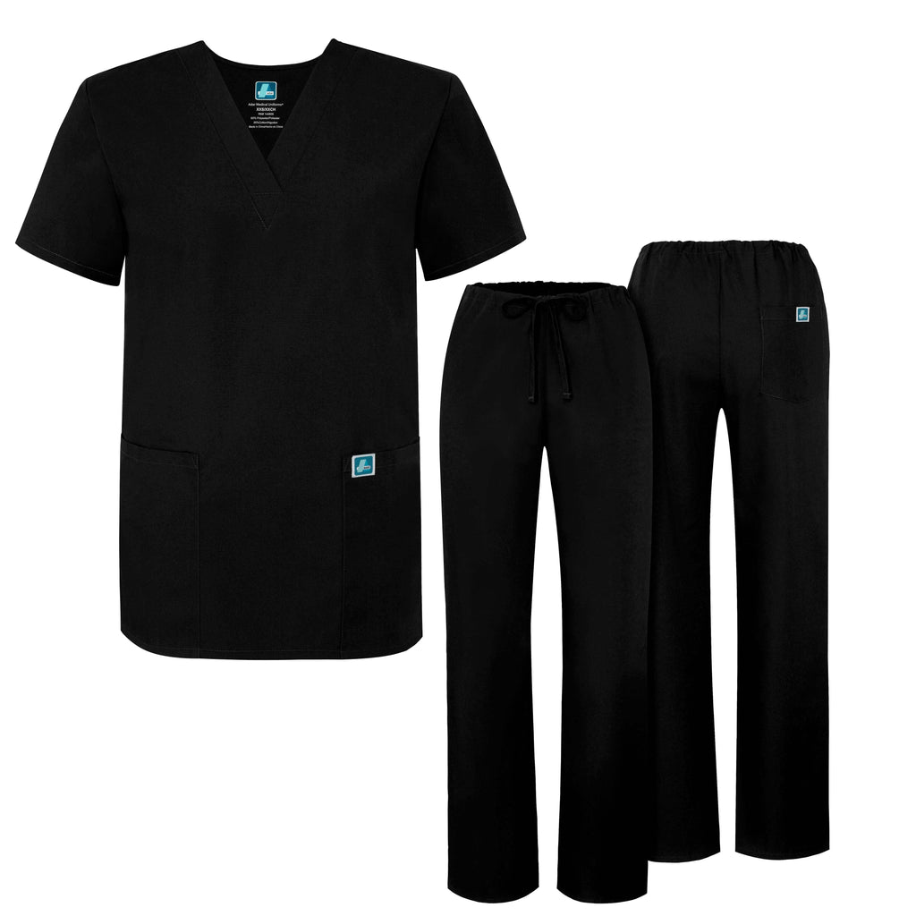 UNIVERSAL UNISEX DRAWSTRING SCRUB SET-Black - Grace Health Scrubs, LLC