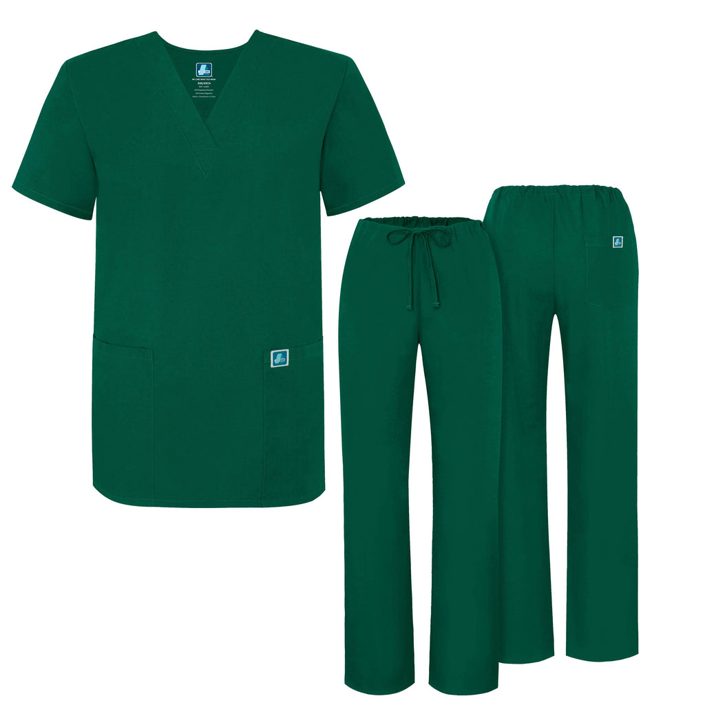 UNIVERSAL UNISEX DRAWSTRING SCRUB SET-Hunter Green - Grace Health Scrubs, LLC