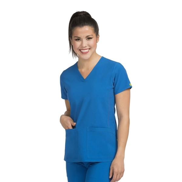 Clearance Activate by Med Couture Women's Power V-Neck Solid Scrub Top-Royal Blue