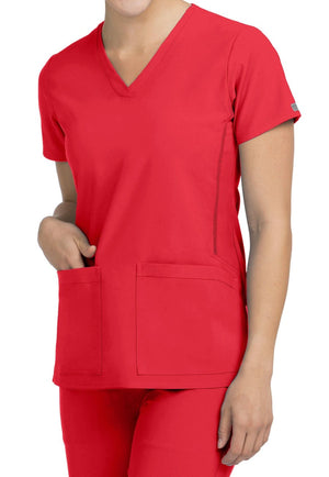 Clearance Activate by Med Couture Women's Power V-Neck Solid Scrub Top-Red