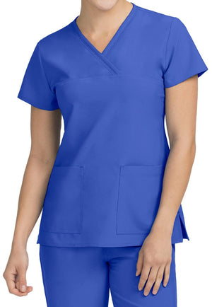 Clearance Med Couture Activate Fluid Mock Wrap Scrub Top Royal Blue 8532