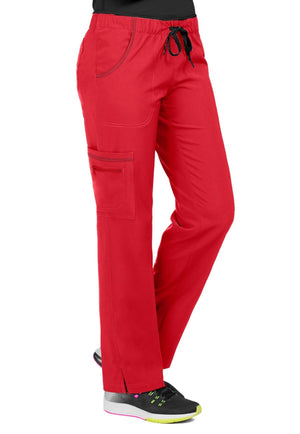 Clearance Activate by Med Couture Women's Color Block Drawstring Cargo Scrub Pant-Red