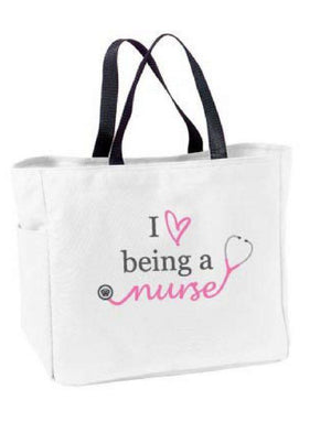 Love Being a Nurse Tote Bag – White - Grace Health Scrubs, LLC