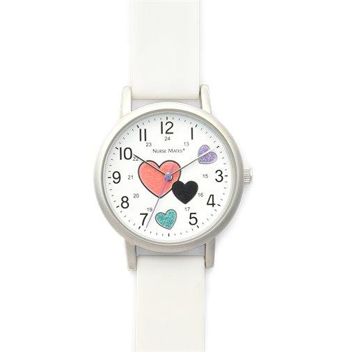 Shimmer Hearts Watch- White Shimmer hearts-Nurse Mates