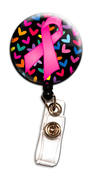 Pink Ribbon Hearts Badge Reel - Grace Health Scrubs, LLC
