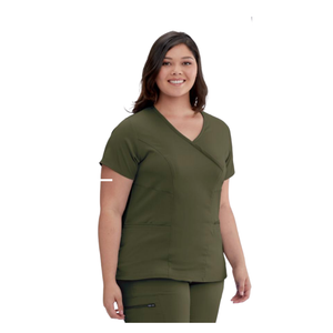 Grey's NEW 3 Pocket Stretch Mock Wrap Scrub Top Olive