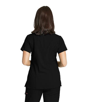 Grey's NEW 3 Pocket Stretch Mock Wrap Scrub Top Black