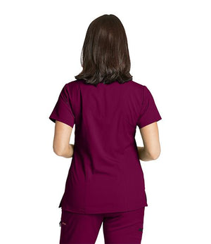 Grey's NEW 3 Pocket Stretch Mock Wrap Scrub Top Wine