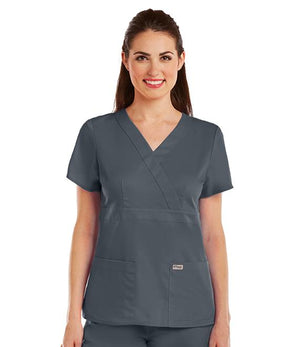 Grey's 3 Pocket Mock Wrap Top W/ Back Tabs Steel