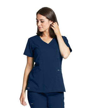 Grey's NEW 3 Pocket Stretch Mock Wrap Scrub Top (Indigo) Navy
