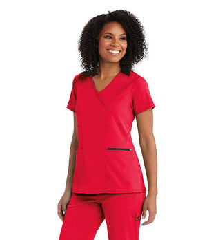Grey's NEW 3 Pocket Stretch Mock Wrap Scrub Top Red