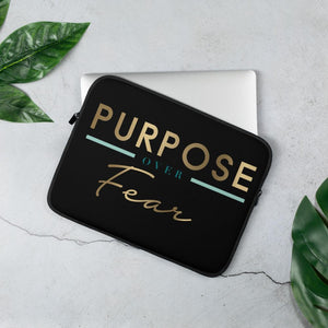Purpose Over Fear Laptop Sleeve-Black