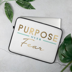 Purpose Over Fear Laptop Sleeve-White