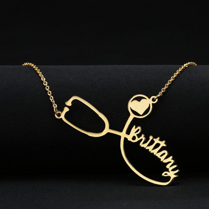 Personalized Nurse Stethoscope Necklace (please allow 14 business days to receive)