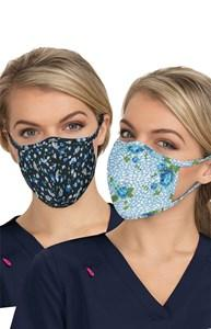 koi Reversible Fashion Mask 2-pc - Floral Leopard/Ditsy Floral Blue