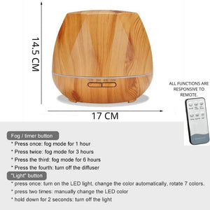 Remote Controlled 450 ML Essential Oil Diffuser.