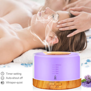 BJR Essentials 500ml Premium, Essential Oil Diffuser, 5 in 1 Ultrasonic Aromatherapy Fragrant Oil Vaporizer Humidifier, Ultra Quiet With Timer and Auto-Off Safety Switch, Changeable And Selective 7 LED Light Colours, All Settings Responsive To REMOTE!