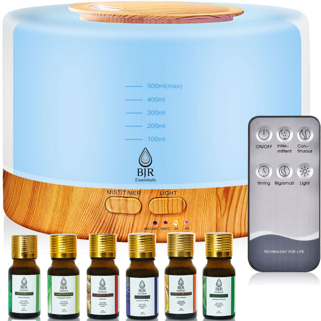 BJR Essentials 500ml Premium Essential Oil Diffuser, also with 6 pack of premium therapeutic grade essential oils set.