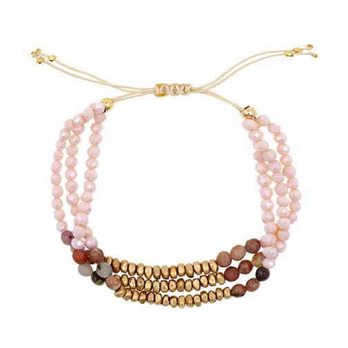 Coral crystals with Gold Accents bracelet