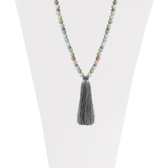 Natural stone turquoise and silver long necklace