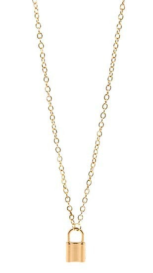 Gold Short Necklace with Lock Pendant