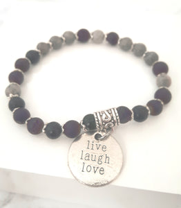 Amethyst and grey lava stone bracelet
