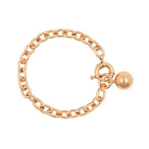 Rose gold bracelet with toggle and 14mm hanging ball