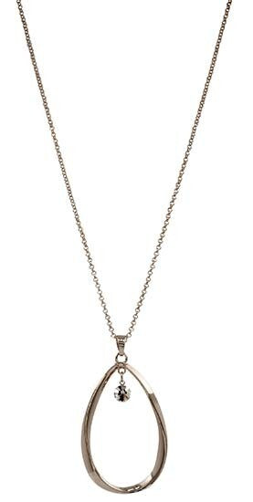 Necklace Midlength Hanging Teardrop w/ inner CZ drop crystal