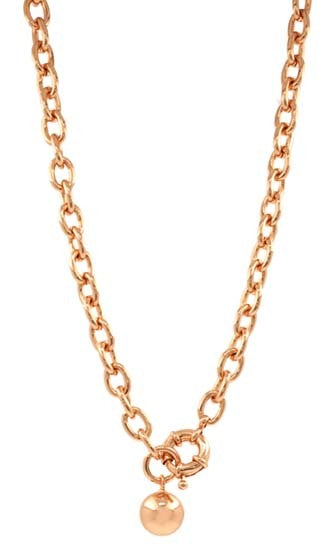 Rose gold necklace with toggle closure 14mm hanging ball