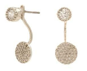 2 in 1 stud Earring with Jacket CZ
