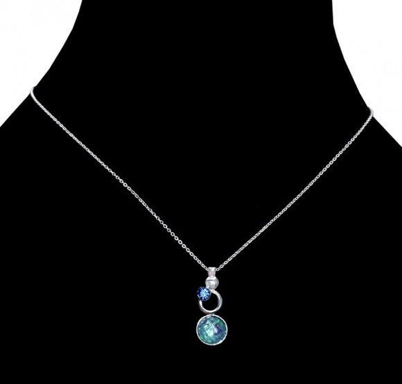 Aquamarine & opal necklace