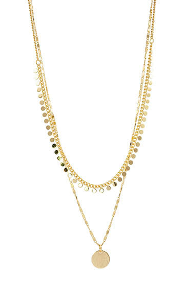 Double chain gold necklace with small pendant