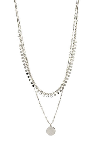 Double chain silver necklace with small circle pendant